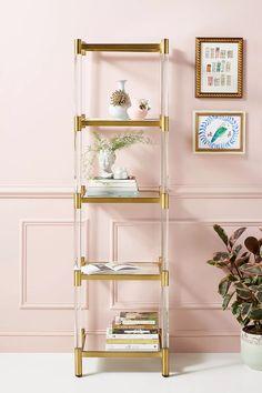 Glass Bookshelves, Gold Bookshelf, Glass Shelves, Narrow Bookshelf, Hanging Bookshelves, Unique Bookshelves, Corner Bookshelves, Bookshelf Styling, Bookcases