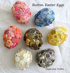 button easter eggs, crafts, easter decorations, seasonal holiday decor, Here are the six button eggs I made in 2012 Spring Crafts, Holiday Crafts, Holiday Decor, July Crafts, Easter Crafts For Adults, Easter Egg Crafts, Plastic Easter Eggs, Diy Ostern, Easter Eggs