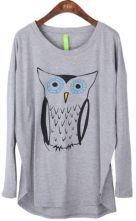 Grey Long Sleeve Owl Print Cartoon Loose T-Shirt $31.2