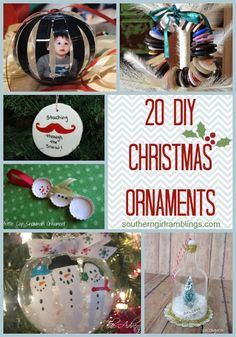 20 Homemade Christmas Ornaments #Christmas #DIY #Ornaments #Holidays