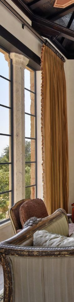 Living room curtain ideas for two windows side by side for Old world window treatments