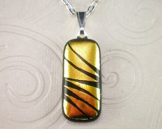 Copper Hand Etched Dichroic Fused Glass Pendant by GoldenGlow