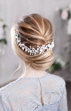 BARA Flower Bridal Headpiece for Sensitive Romantic Brides by TopGracia