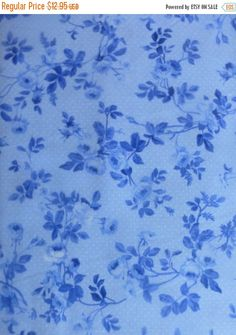 YEAR END SALE Porcelain Blue~Small Flowers~Cotton Fabric, Quilt, Home Decor~Northcott~20696-42~Fast Shipping F490