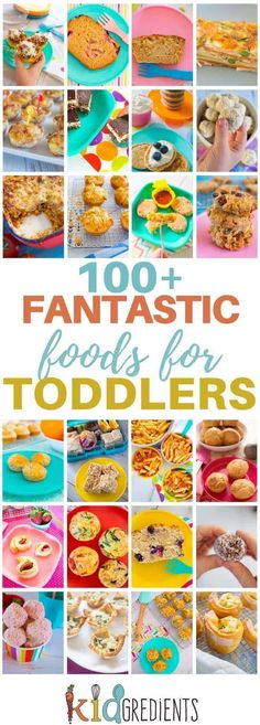 Over 100 fantastic foods for toddlers! Yummy, freezer friendly and kid approved recipes to keep your toddler interested in food! The best toddler food list on the web! #toddlerfood #kidsfood #easyrecipes #familyfood via @kidgredients
