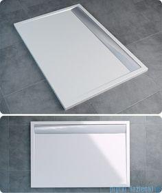 RONAL Brodzik konglomeratowy prostokątny WIA 80x100cm biały/czarny WIA - plytki-lazienki