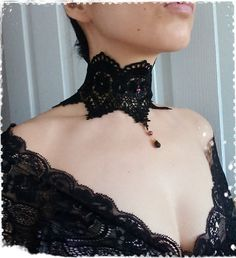 Black Victorian Lace Choker Necklace Vintage by CandiedCherrybyKC