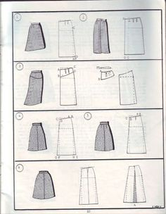 Skirt styles n pattern 6 Diy Clothing, Sewing Clothes, Sewing Patterns Free, Clothing Patterns, Sewing Hacks, Sewing Tutorials, Fashion Vocabulary, Modelista, Pattern Cutting