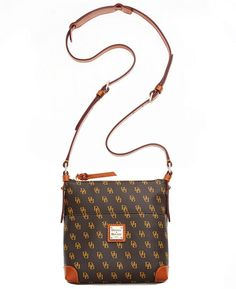 Dark Brown Print Leather Crossbody Bag by Dooney & Bourke. Buy for $168 from Macy's