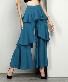 Look at this Teal Chiffon Tiered Ruffle Palazzo Pants Trousers Women, Pants For Women, Clothes For Women, Indian Fashion, Boho Fashion, Fashion Design, Womens Fashion, Fashion Pants, Fashion Dresses