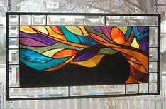 **THE TREE OF LIFE in LIVING COLOR**Stained Glass Window Panel (Signed and Dated