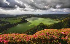 Scarica sfondi Sete Cidades, lago, estate, colline, Azzorre, Portogallo