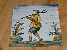 Hand Painted Spanish Spain Ceramic Tile Trivet Plaque Man Pitchfork Antique Tiles, Or Antique, Pitch Forks, Spanish Tile, Blue Tones, Vintage Pottery, Mosaic, Two By Two, Spain