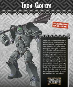 The Iron Golem attacks and defends just like clockwork. Its heavy metal mace is capable of causing some serious damage if you don't keep your distance. Its metal carapace deflects attacks like an armored tank, capping the heroes' attacks to a set number of wounds.