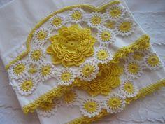 Vintage White Pillowcase Set with Yellow by AprilsLuxuries on Etsy, $15.00