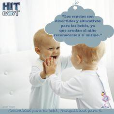 Creciendo con Hit Baby1: Espejo para los bebés. Los espejos son divertidos y educativos para los bebés, ya que le ayudan a reconocerse a sí mismos. #niños #bebés #reconocimiento #niñas #espejos
