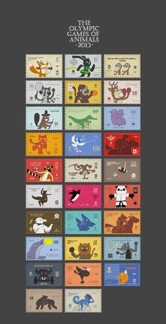 The Olympic Games of Animals 2013 by ilya kazakov, via Behance Paper Background Design, Ticket Design, Anime Drawings Sketches, Scrapbook Stickers, Printable Stickers, Stamp Collecting, Animal Party, Paper Design, Postage Stamps
