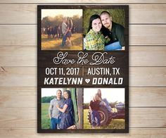 25 Rustic Save the Date Magnets with 4 by LittleBeesGraphics
