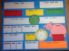 Jennifer's Kindiekins & First Graders: Daily Math Wall {Free} Printable :) Second Grade Math, First Grade Classroom, Math Classroom, Kindergarten Math, Teaching Math, Classroom Ideas, Grade 3, Third Grade, Teaching Ideas