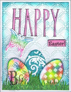 Sample by Texana Designs DTM Janet Bradshaw using our Jam'n Egg Solid, Butterfly mini, and HAPPY (KALDesigns) stamps.