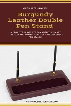 Upto 65% off  Burgundy leather dual pen stand is a perfect addition to any desk. This durable and gorgeous unit adds an element of luxury and permanence to any office #freeshipping  http://woodartsuniverse.com/catalog/product_info.php?cPath=27&products_id=596