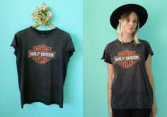 Vintage VTG VG 1980's 1990's HARLEY Davidson Motorcycle T Tee Shirt Distressed Grey Large Logo Motorcycle Culture Highway Rambling Large by foxandfawns on Etsy
