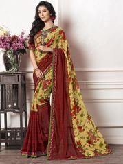 Yellow & Red Color Georgette Kitty Party Sarees : Ayushka Collection YF-64574 Floral Print Sarees, Printed Sarees, Floral Prints, Party Sarees, Kitty Party, Casual Party, Red Color, Sari, Yellow