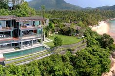 An inspiring oceanfront classic that takes elegant tropical luxury to the next level.    This photo was taken from one of our villas, The View (Taling Ngam, Koh Samui).