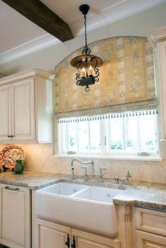 New Ideas For Kitchen Design French Country Window Treatments Country Window Treatments, Arched Window Treatments, Kitchen Window Treatments, Arched Windows, Blinds For Windows, Window Coverings, Window Valances, Bay Windows, Country Sink