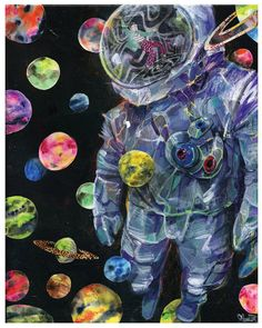 Astronaut Art  Surreal Planet Art Print  Planet by BlackInkArtz, $12.00