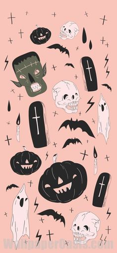 Halloween Wallpaper Cute, Witchy Wallpaper, Cute Fall Wallpaper, Iphone Wallpaper Fall, Holiday Wallpaper, Halloween Backgrounds, Aesthetic Iphone Wallpaper, Wallpaper Backgrounds, Pink Wallpaper