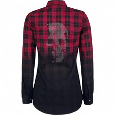 "Rock Rebel by EMP Longsleeve, Women ""Skull Checkshirt"" red Tomboy Outfits, Gothic Outfits, Cool Outfits, Tartan Mode, Older Women Fashion, Womens Fashion, Womens Clothing Stores, Clothes For Women, Tartan Fashion"