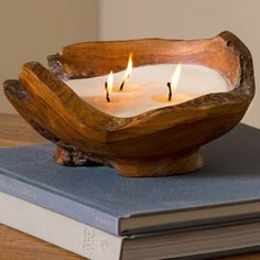 Handcrafted Teak Wood Bowl Candle | VivaTerra