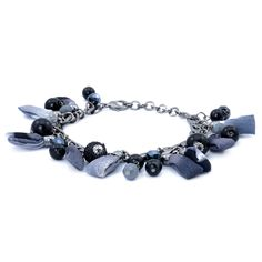 Black and Grey Glass Bracelet in Silver Tone Resin (Size 7.5) 1985428