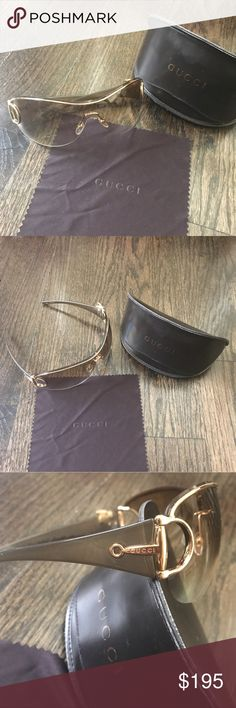 Gucci Gold & Brown Gradient Horsebit Sunglasses Like new! Authentic Gucci gradient scratch resistant lenses. Gold and brown. Rimless style. Horsebit detailing that says Gucci on the arms. Cute crystal bumble bee on one side. Rare sunnies! Comes with case and dust cloth.   💋NO TRADES💋 Gucci Accessories Sunglasses