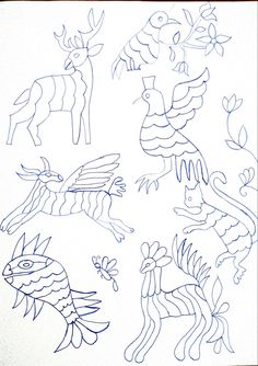 Diy Otomi Embroidery, Mexican Embroidery, Bird Embroidery, Embroidery Stitches, Embroidery Patterns, Mexican Pattern, Bruges Lace, Mexican Designs, Cool Art Drawings