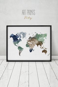 World map watercolor print, Travel Map, Large world map, world map watercolor…