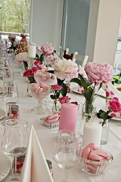 tablescape. Flowers, Candy and Candles.  I like it!.