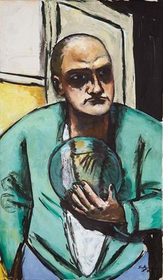 Max Beckmann (German, 1884 – 1950)  Self-portrait with glass ball (Selbstbildnis mit Glaskugel), 1936  Oil on Canvas, 110 x 65 cm VISION