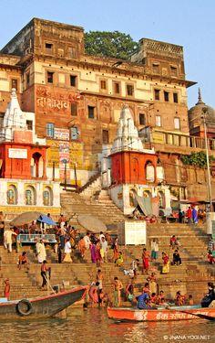 Along the Ganges ghats. Buddhist Architecture, Indian Temple Architecture, Wonderful Picture, Wonderful Places, Tourist Places, Places To Travel, India Landscape, Creative Zen, Amazing India