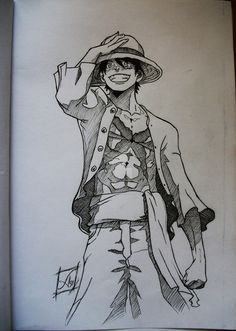 An old draw of Luffy from One piece .but the result was pretty nice Luffy Ink Naruto Drawings, Anime Drawings Sketches, Anime Sketch, One Piece Anime, One Piece Luffy, Anime Character Drawing, Manga Drawing, Manga Art, Manga Anime
