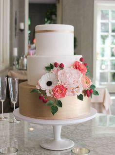 Featured Cake: Erica O'Brien Cake Design; gold and pink wedding cake