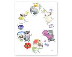 Flower Pugs. Joyful Pug Dog Illustration by InkPug,