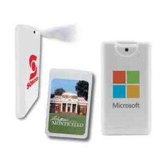 This unique anti-bacterial, instant hand sanitizer sprayer is shaped like a credit card. Price includes a 4-color process laminated decal or a 1-color direct imprint. Lamination protects your investment. Comes in 15 ml. translucent or white case. Contains 62% alcohol.