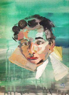 Angela Mena › RETRATOS RETRATO  Permanente e invariable  Acrílico y óleo sobre lienzo / Tamaño: 100x100 cm / 30x41,5 cm