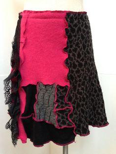 Wool Cashmere Skirt Patchwork Sweater Skirt by danamurphydesigns