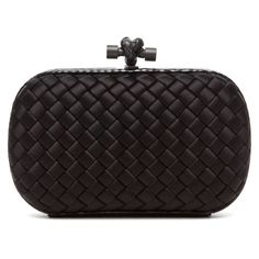 Bottega Veneta Ayers Knot Clutch in Black ($1,380) ❤ liked on Polyvore featuring bags, handbags, clutches, bolsas, purses, black, woven handbags, bottega veneta clutches, man bag and handbags purses