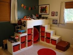 How to: Child's loft bed from two Ikea Trofast toy organizers Don't need this since K built the kids the best loft beds EVER..but just in by lourdes