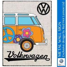VW CAMPER HESSIAN - ORANGE WALL SIGN