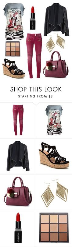 """""""blood line"""" by krissybob ❤ liked on Polyvore featuring Balmain, Smashbox and Morphe"""